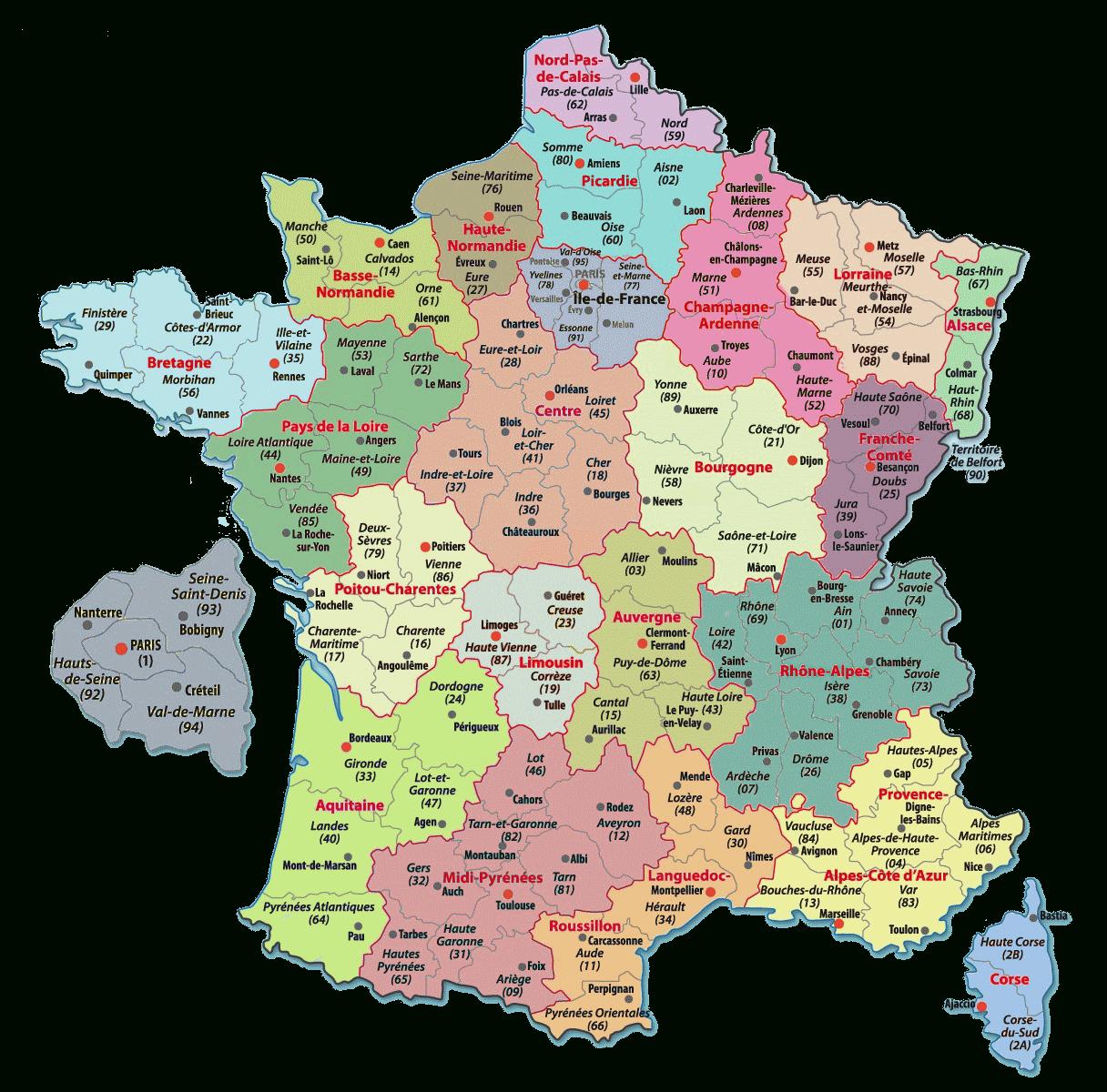 Carte De France Departements : Carte Des Départements De France tout Carte Des Régions De France À Imprimer Gratuitement