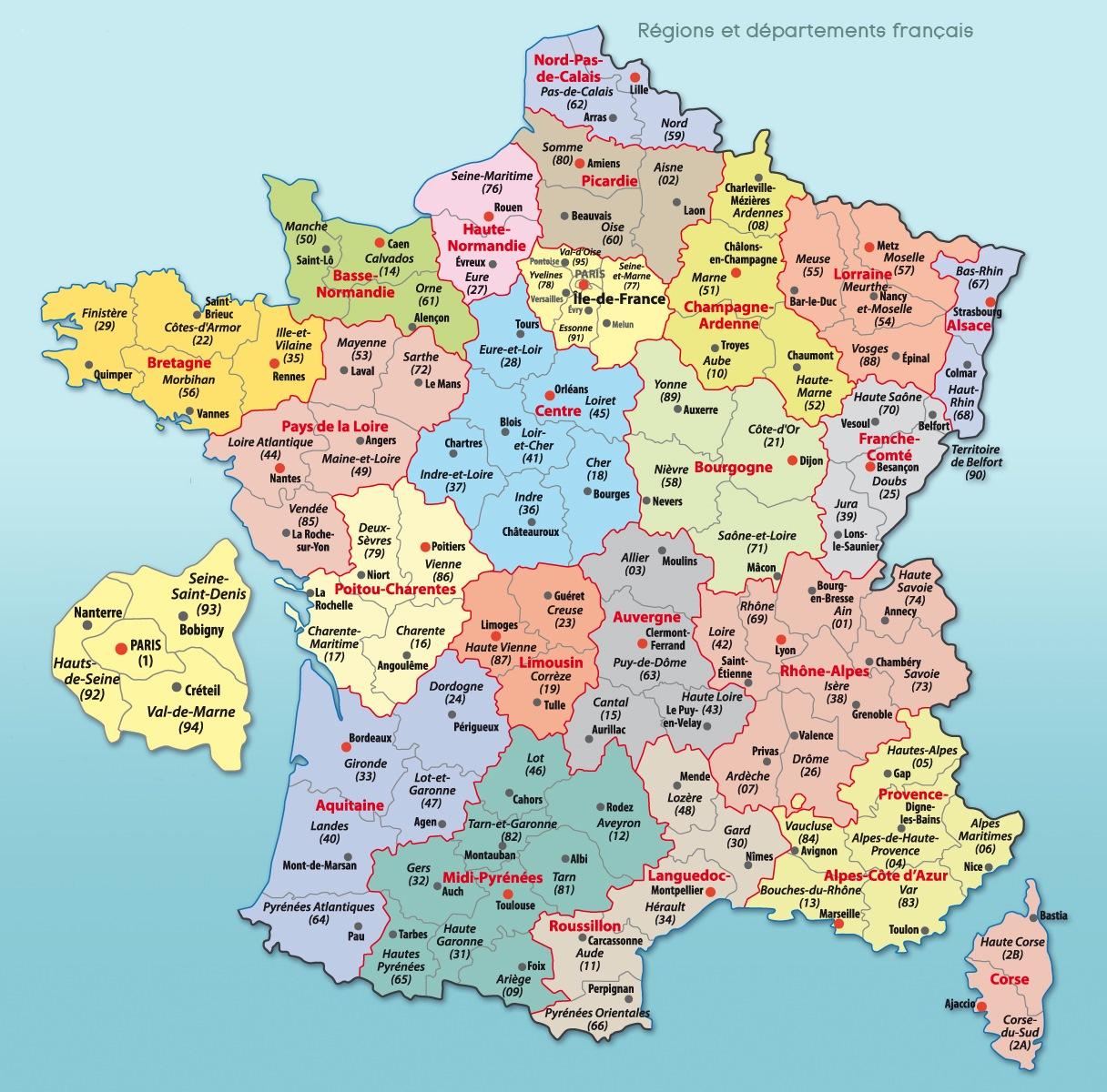 Carte De France Départements Et Régions intérieur Carte De France Departement À Imprimer
