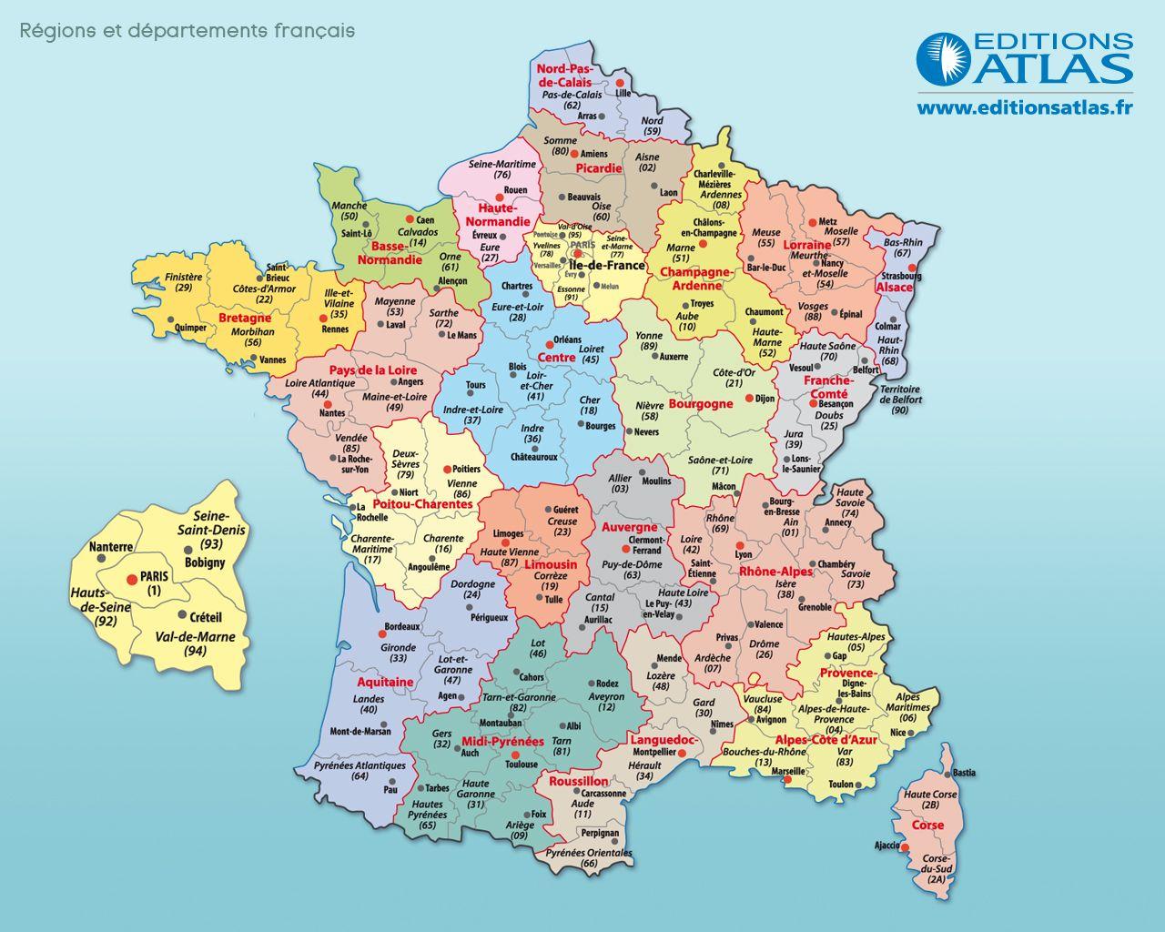 Carte De France : Départements, Villes Et Régions | Arts Et intérieur Départements Et Régions De France