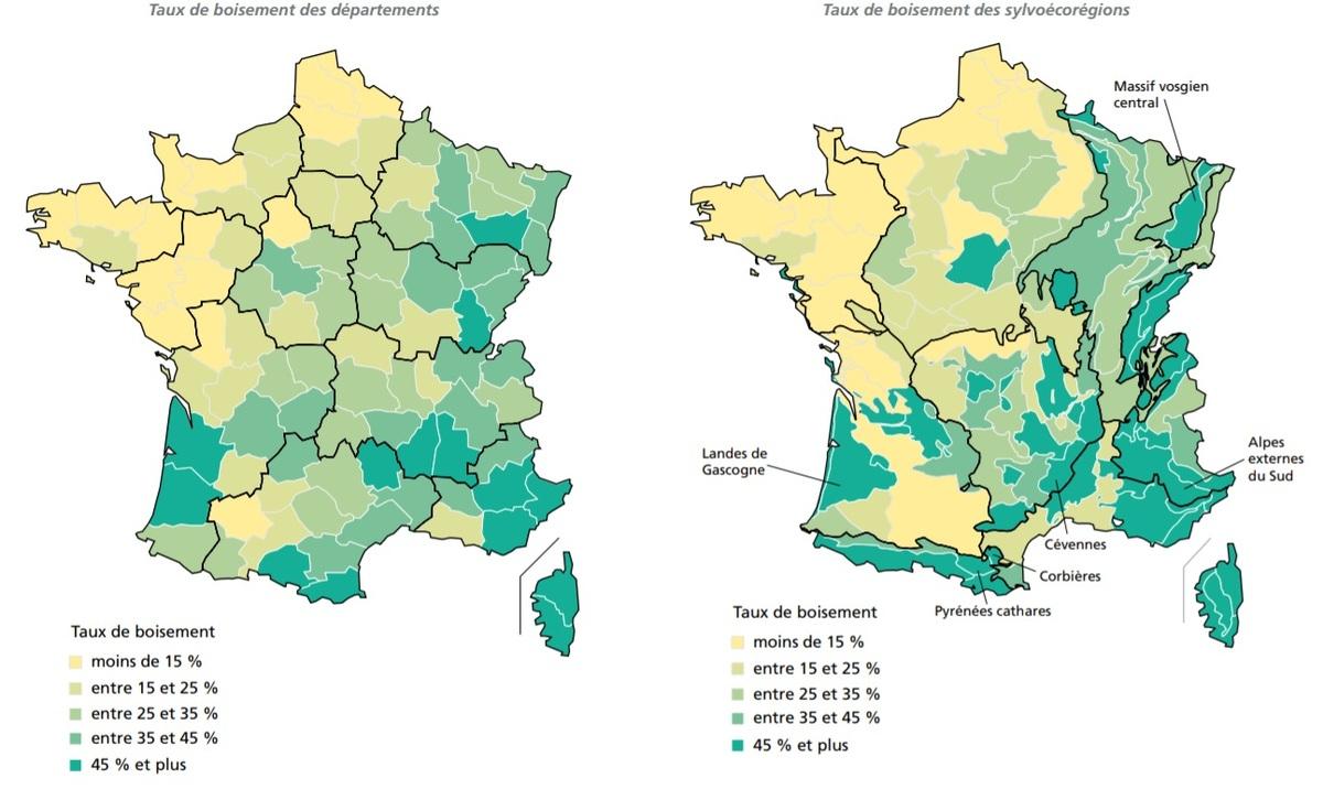 Carte De France Des Forêts - Chroniques Cartographiques intérieur Carte Des Départements De France 2017