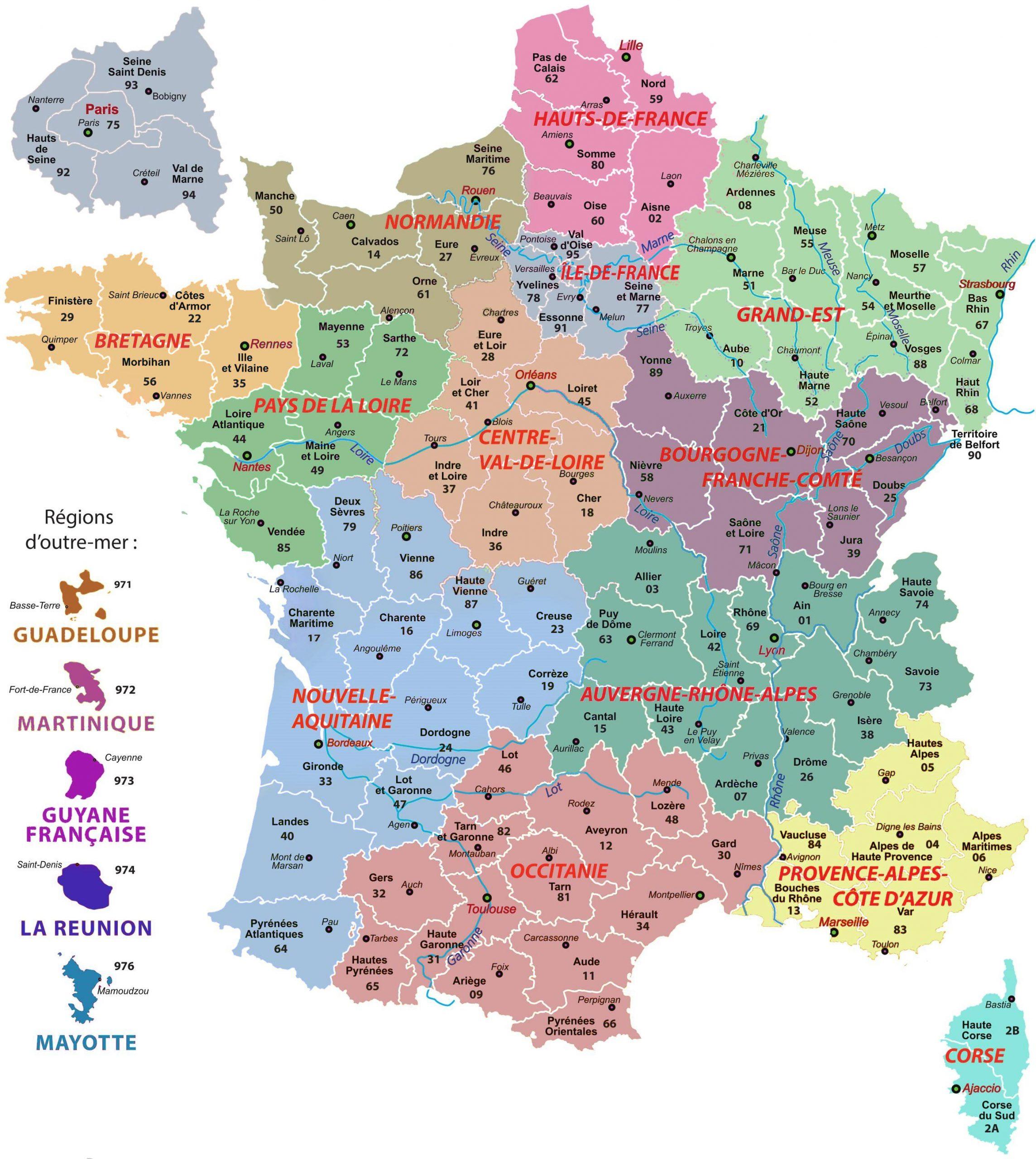 Carte De France Des Regions : Carte Des Régions De France tout Département D Outre Mer Carte