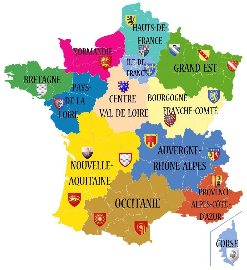 Carte De France Des Régions En 2020 dedans Carte Des Régions De France Vierge