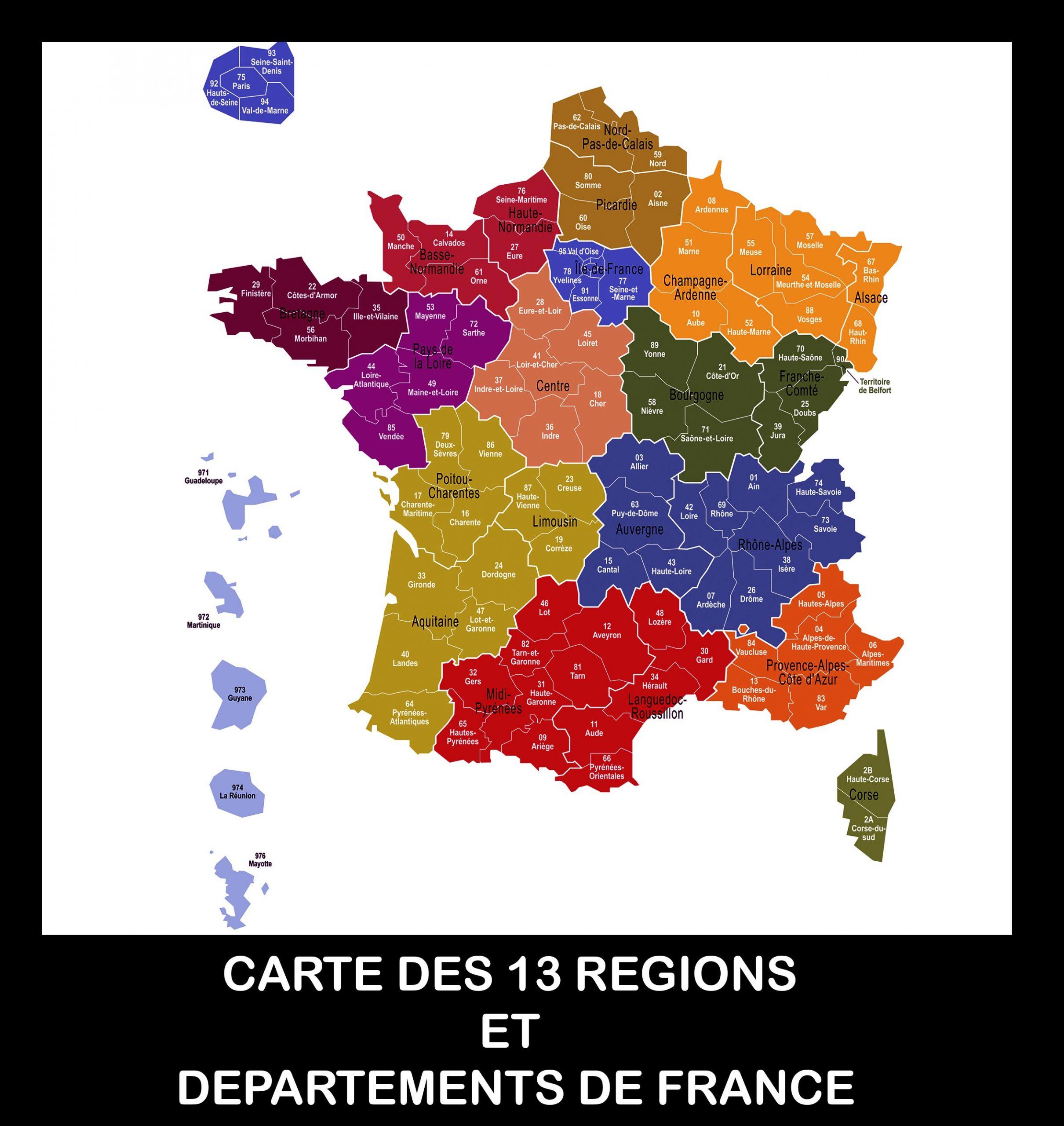 Carte De France Des Régions Images » Vacances - Arts- Guides avec Département 13 Carte