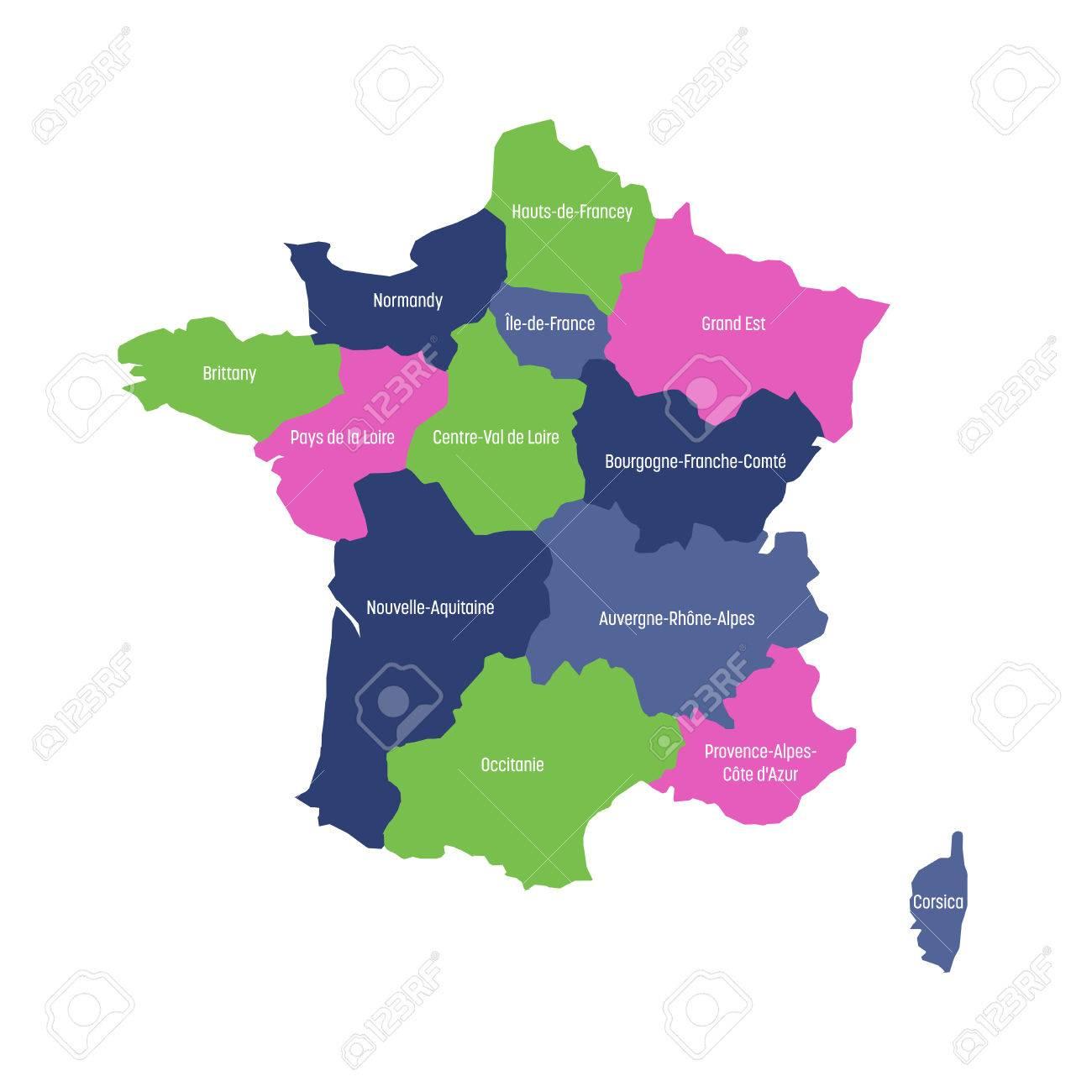 Carte De France Divisée En 13 Régions Métropolitaines Administratives,  Depuis 2016. Quatre Couleurs. Illustration Vectorielle. à Carte Des 13 Régions