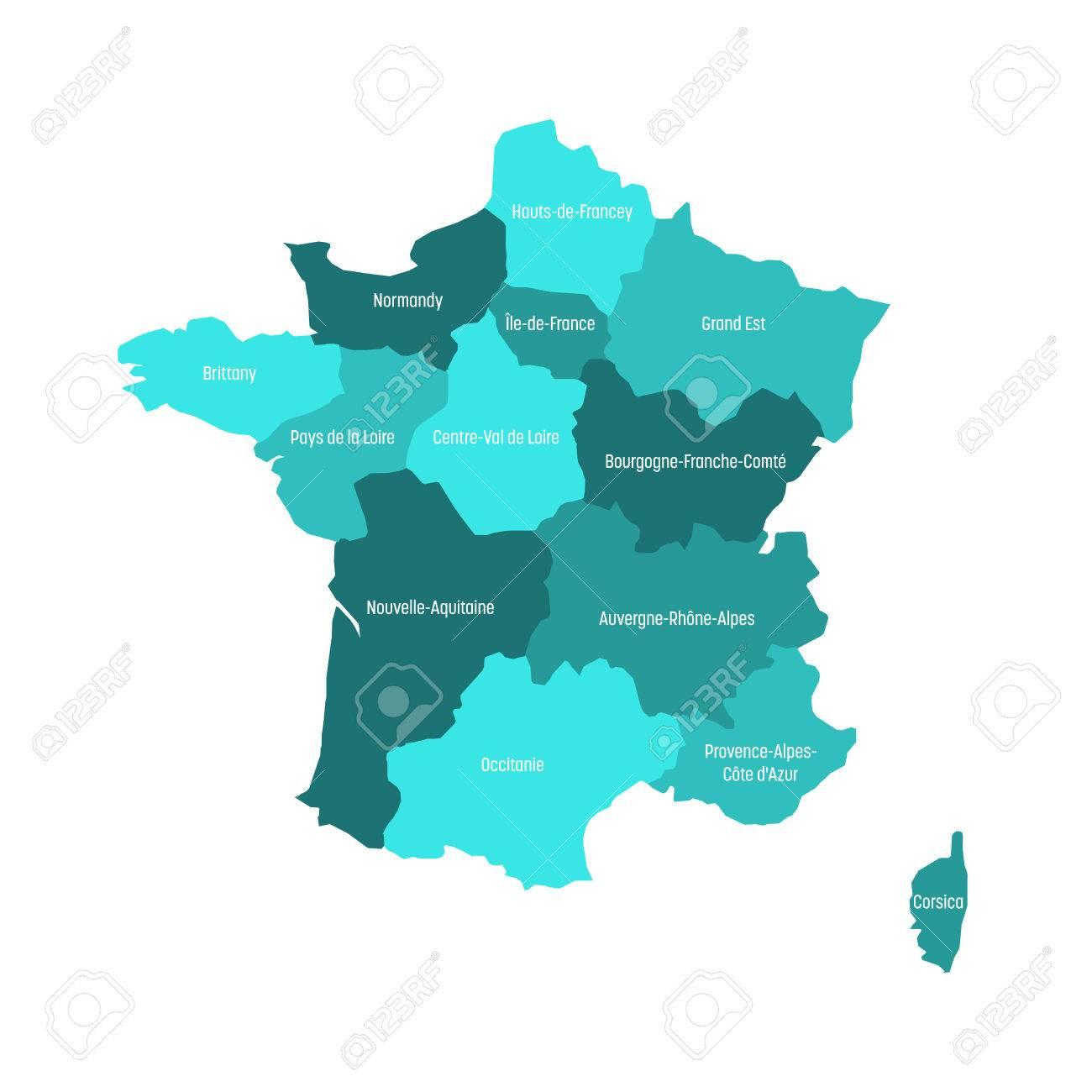 Carte De France Divisée En 13 Régions Métropolitaines Administratives,  Depuis 2016. Quatre Nuances De Vert. Illustration Vectorielle. intérieur Carte Des Régions De France 2016
