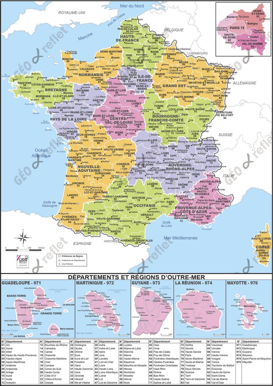 Carte De France Et Drom Vecteur intérieur Carte De France Avec Les Villes