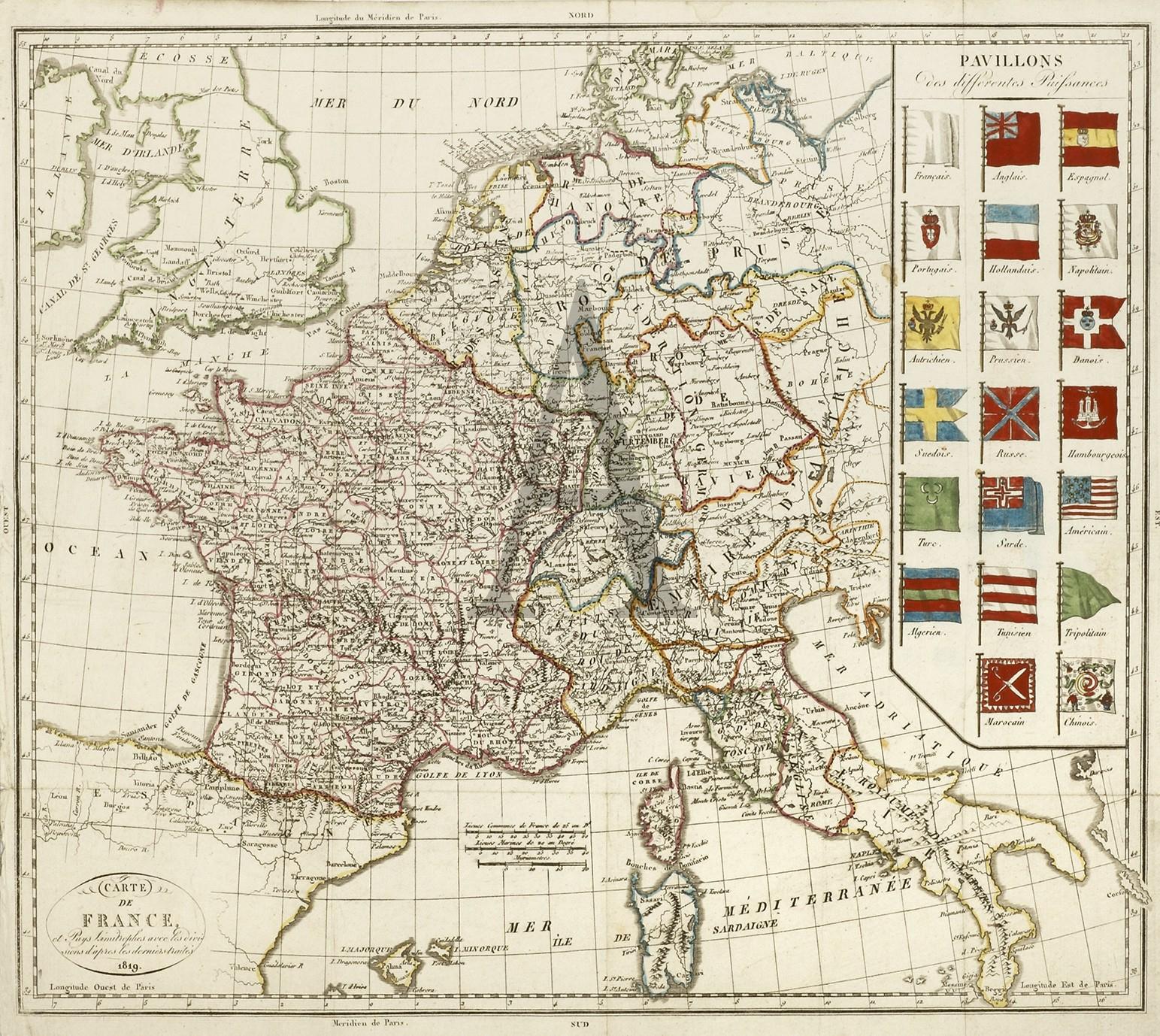 Carte De France Et Puys Simitrophes Avec Les Divisions D intérieur Carte De Fra