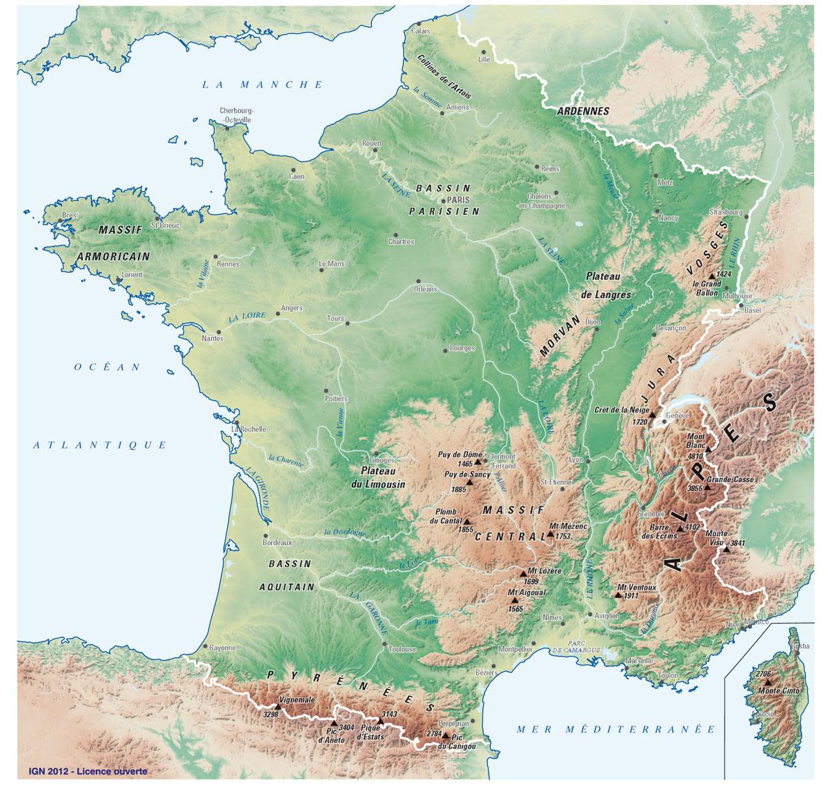 Carte De France Et Quiz avec Carte De France Grand Format