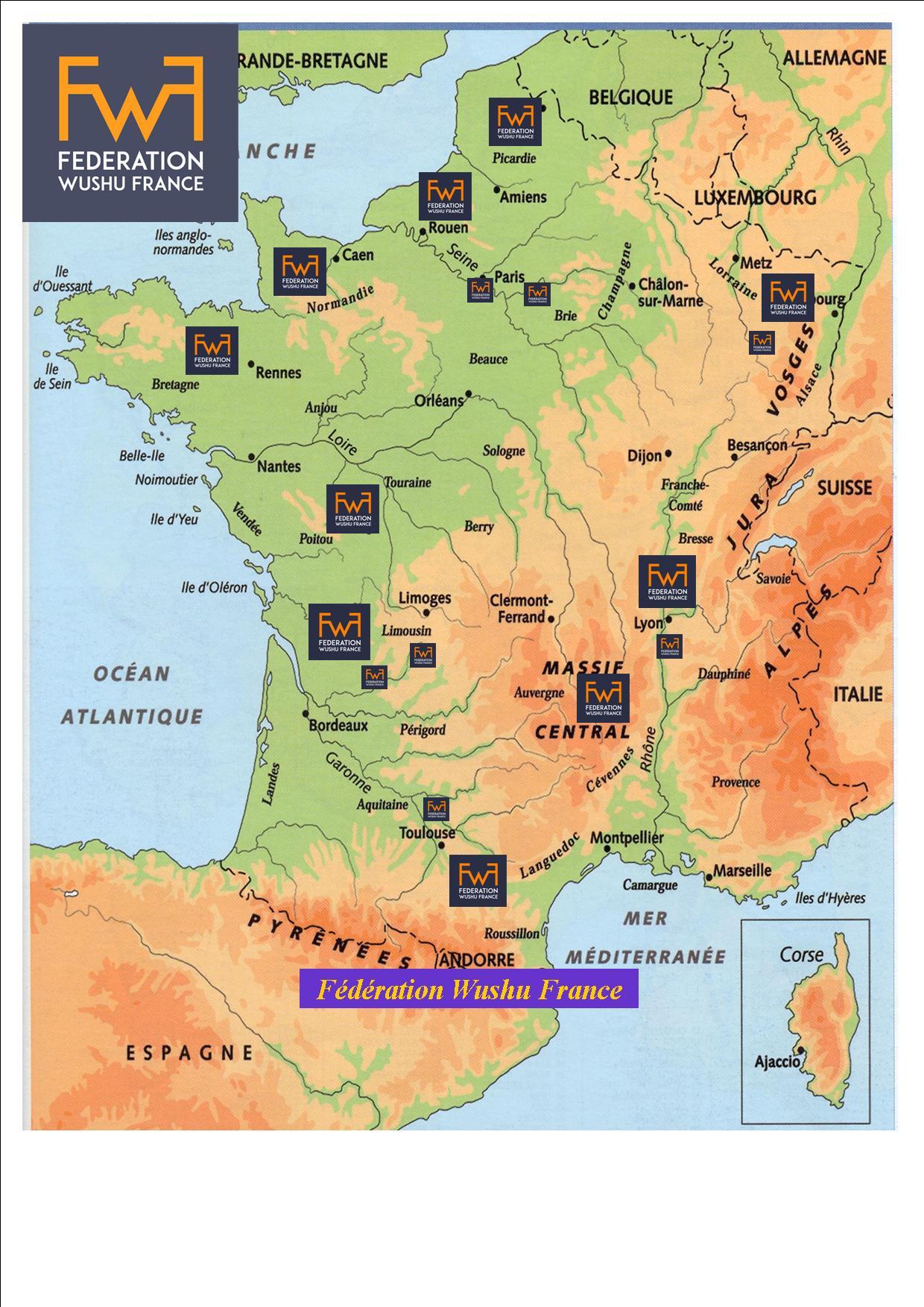 Carte De France Et Ses Régions 2 - Fédération Wushu France encequiconcerne Carte De France Et Ses Régions