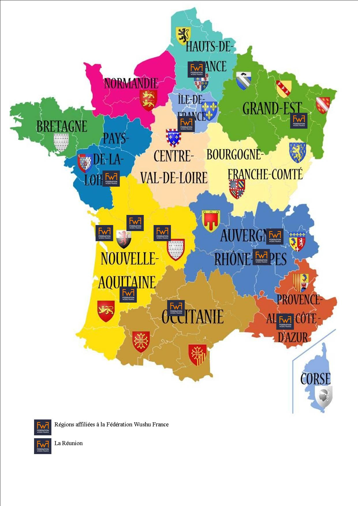 Carte De France Et Ses Régions - Fédération Wushu France intérieur Carte De France Et Ses Régions
