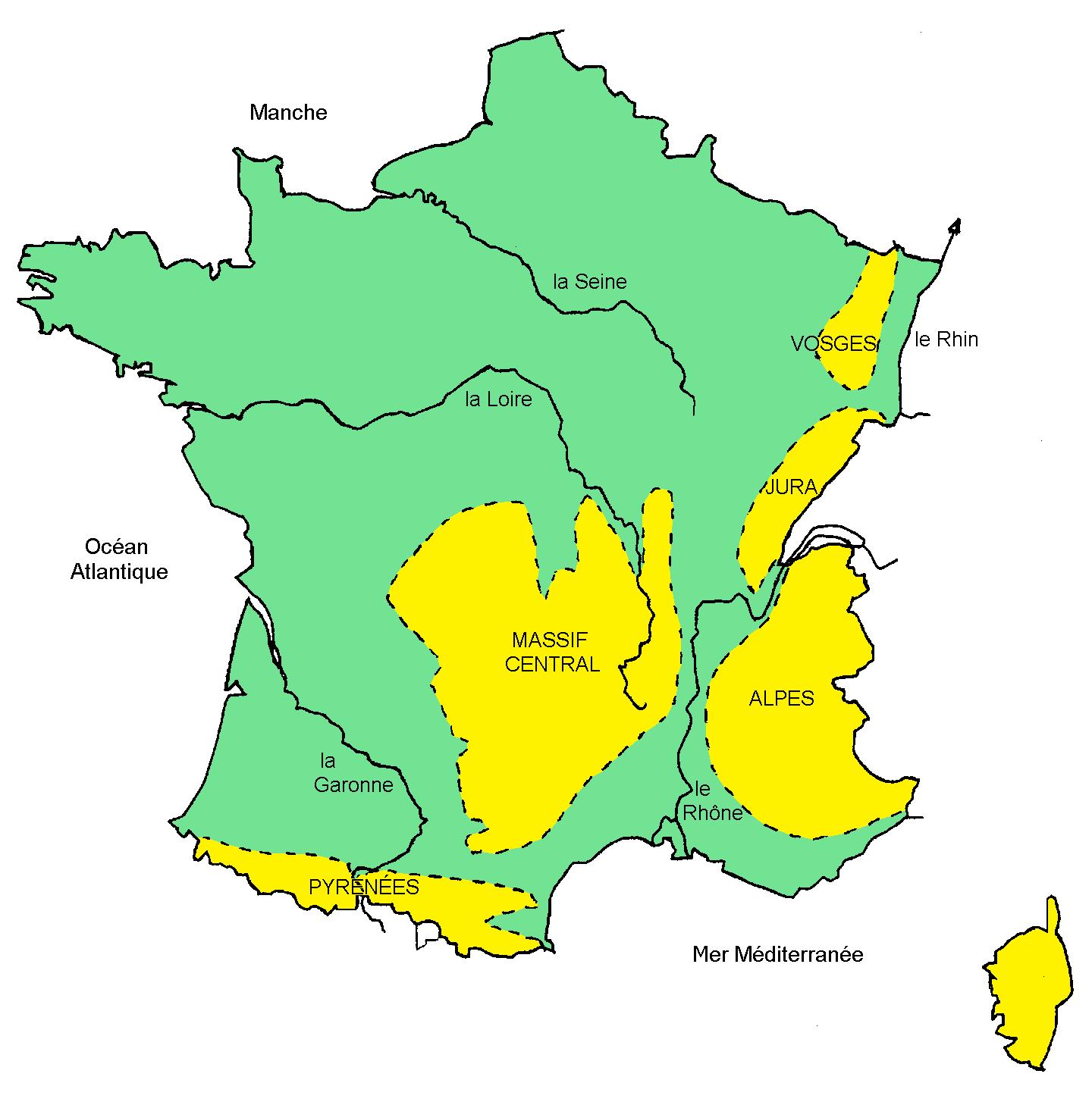 Carte De France Fleuves Et Montagnes » Vacances - Arts pour Carte Fleuve France