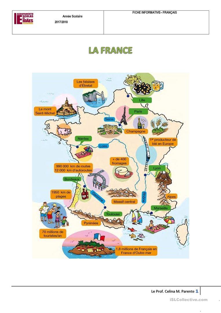 Carte De France - Français Fle Fiches Pedagogiques intérieur Carte De France Ludique
