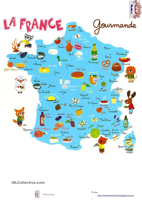 Carte De France Gourmande | Carte De France, Fle Et Géographie pour Petite Carte De France A Imprimer