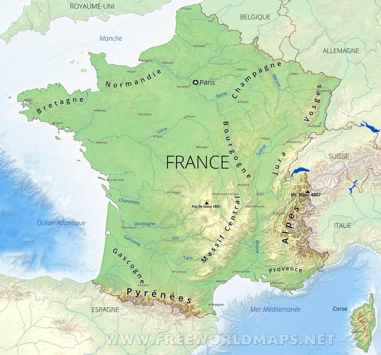 Carte De France intérieur Carte Geographique Du France