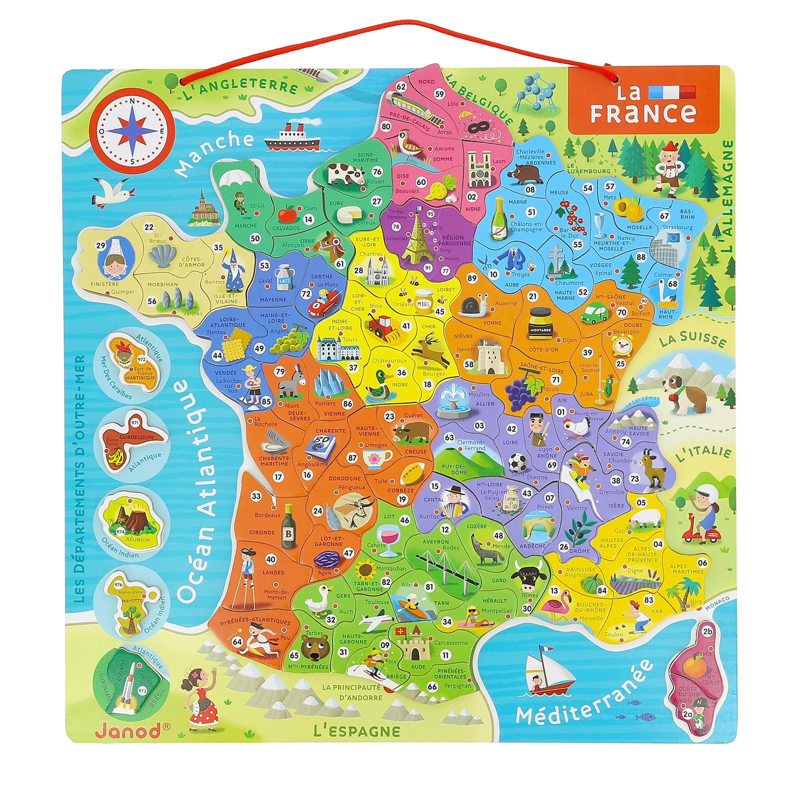 Carte De France Magnétique En Bois pour Carte De France Ludique