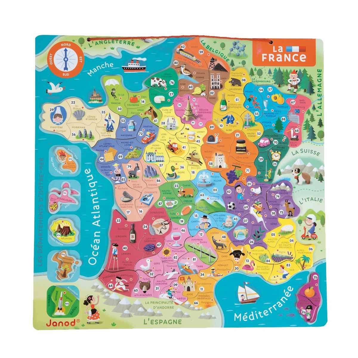 Carte De France Magnétique Pour Enfant De 7 Ans À 12 Ans avec Carte De France Pour Enfant