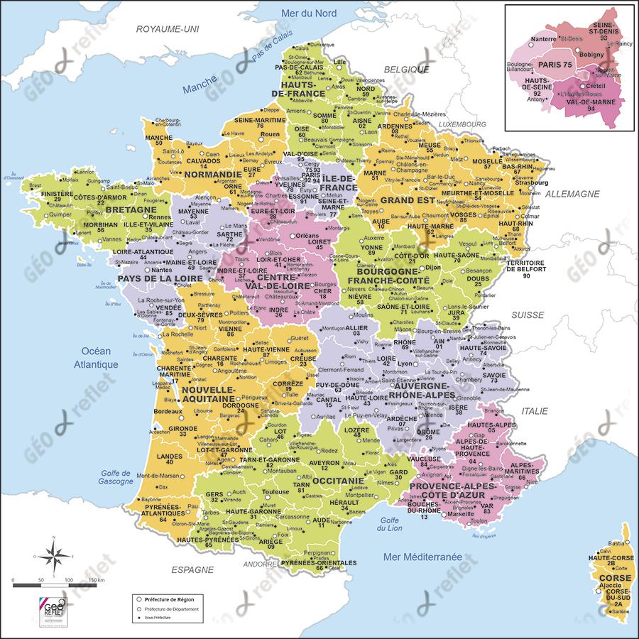 Carte De France Métropolitaine Vecteur à Carte De France Nouvelles Régions