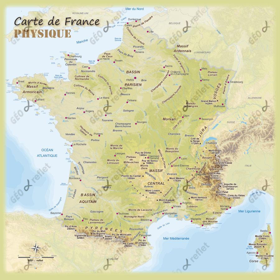 Carte De France Physique » Vacances - Arts- Guides Voyages concernant Carte De France Grand Format