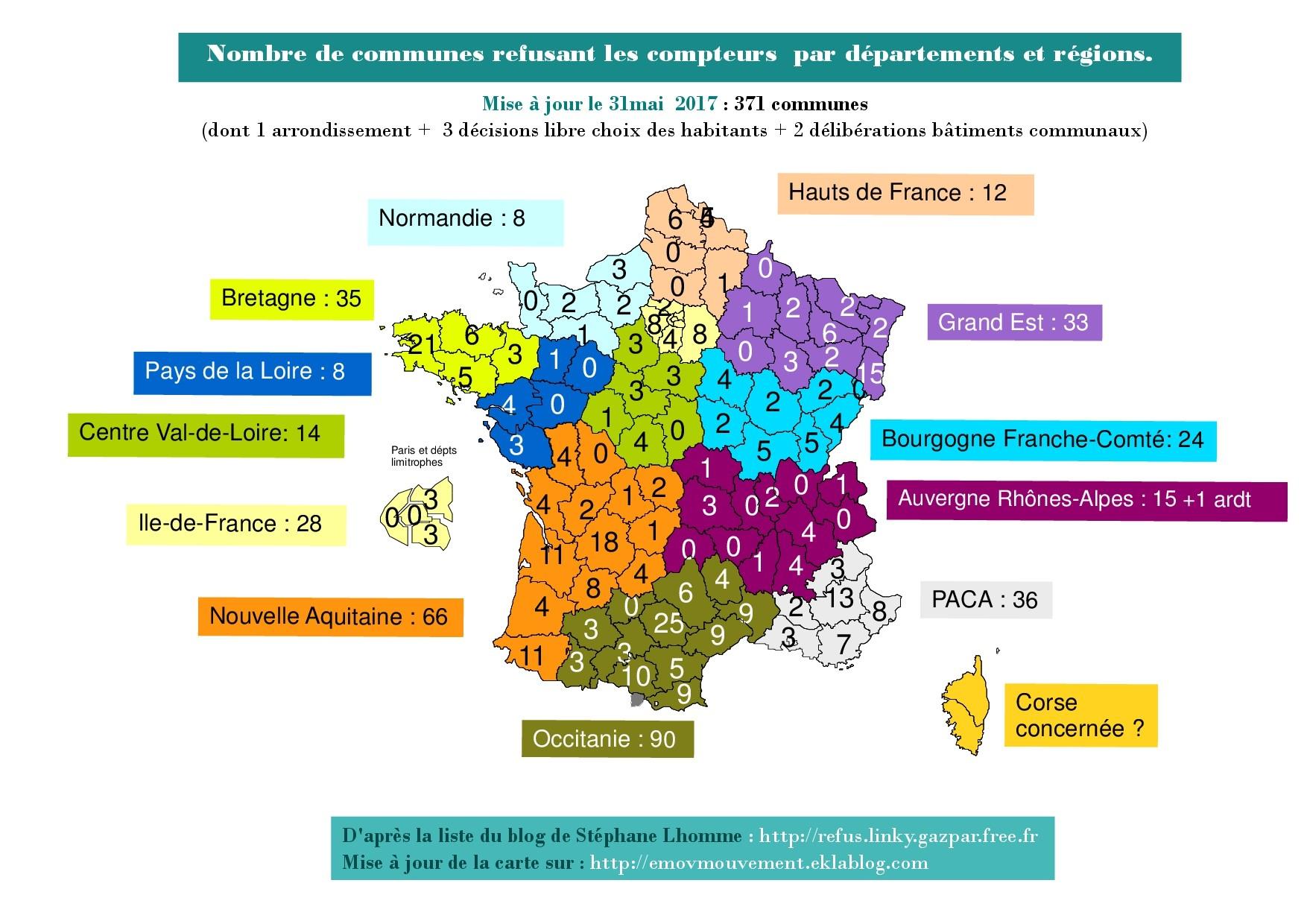 Carte De France Refus Linky Juin 2017 | L'association L concernant Carte Des Départements De France 2017