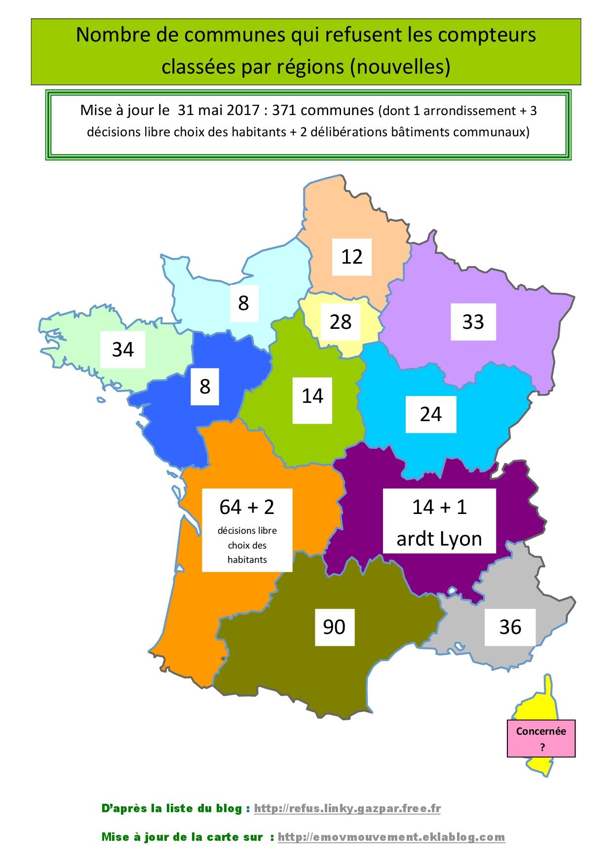 Carte De France Refus Linky Juin 2017 | L'association L dedans Carte Des Départements De France 2017