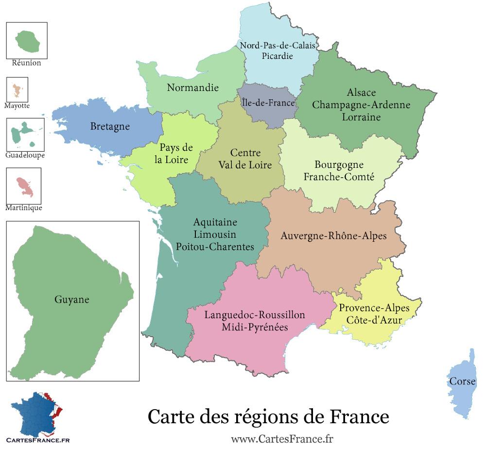 Carte De France Region - Carte Des Régions Françaises pour Decoupage Region France