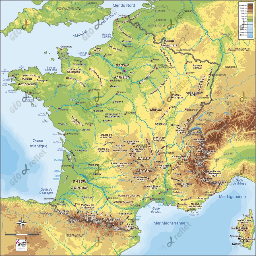 Carte De France Relief Vecteur à Carte De France Avec Les Villes