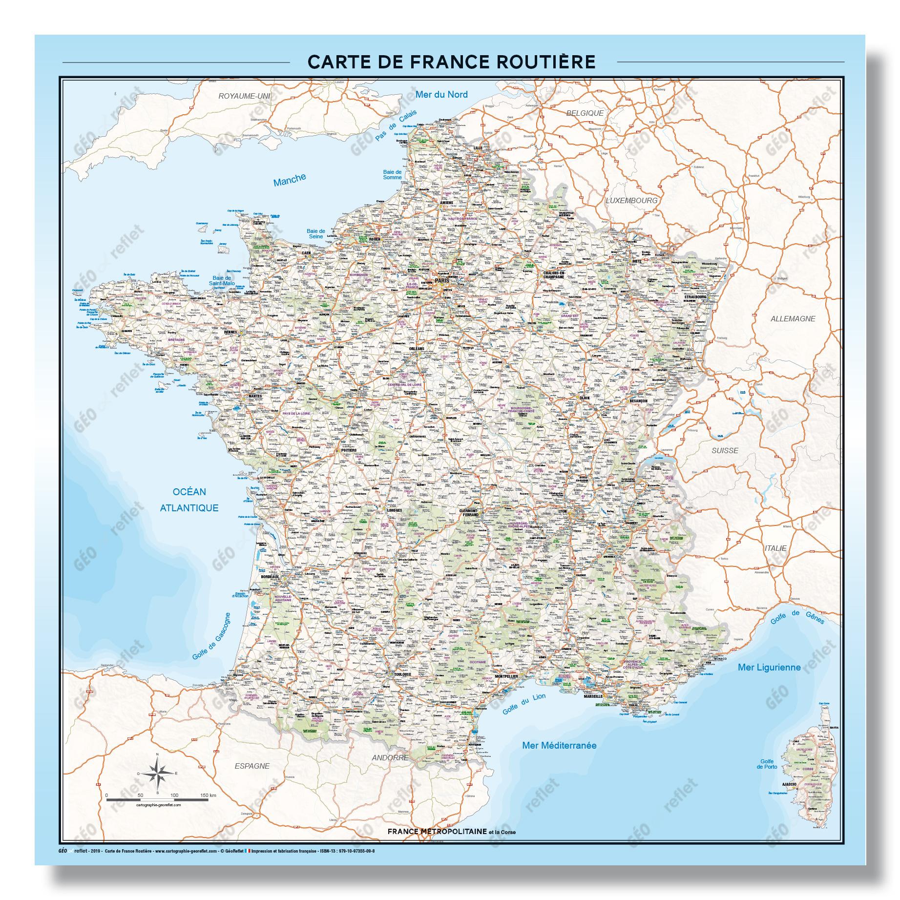 Carte De France Routière - Affiche 1Mx1M - Mise À Jour 2019 tout Carte De France Grand Format