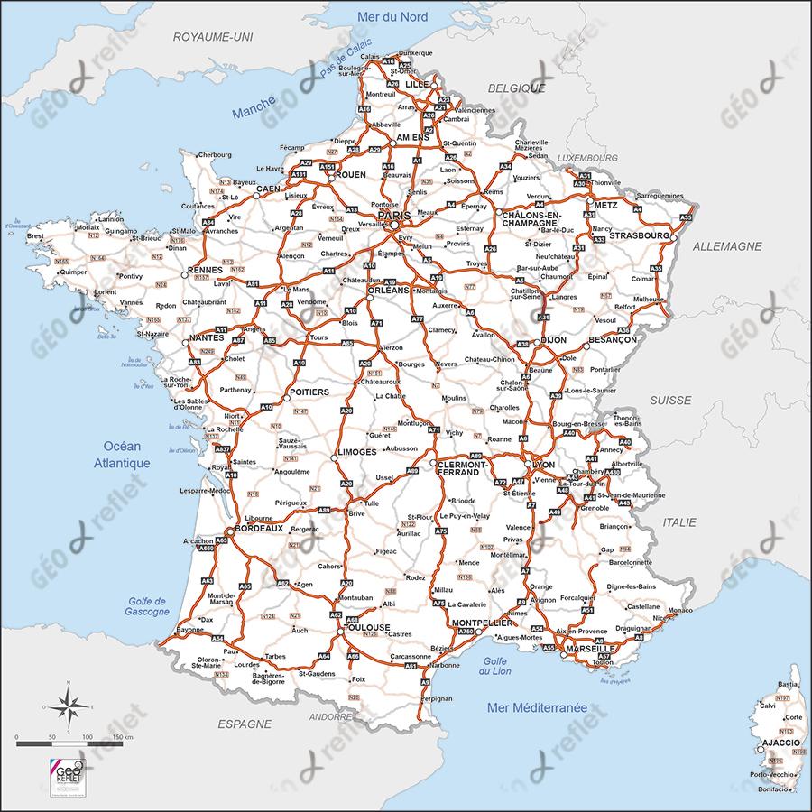Carte De France Routière Vecteur concernant Carte De France Imprimable