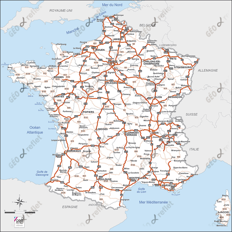 Carte De France Routière Vecteur pour Imprimer Une Carte De France