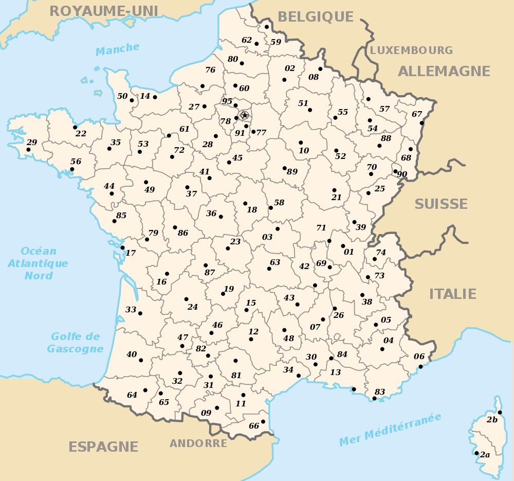Carte De France Vierge Avec Departements serapportantà Carte De France Imprimable