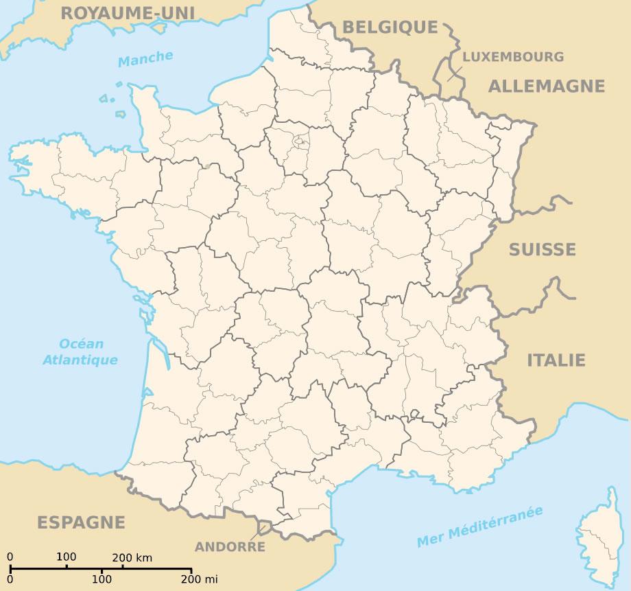 Carte De France Vierge Couleur, Carte Vierge De France En pour Carte Des Régions Et Départements De France À Imprimer