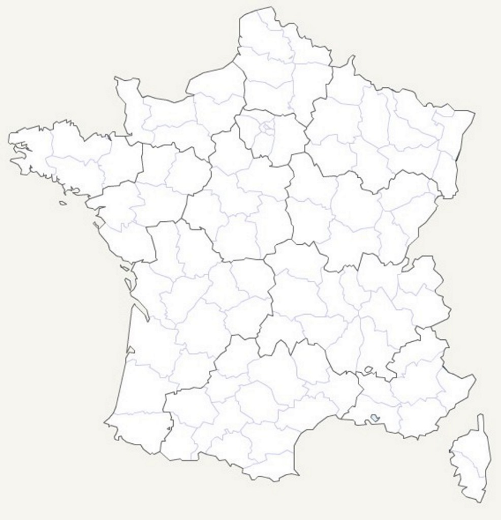 Carte De France Vierge destiné Carte De France Des Départements
