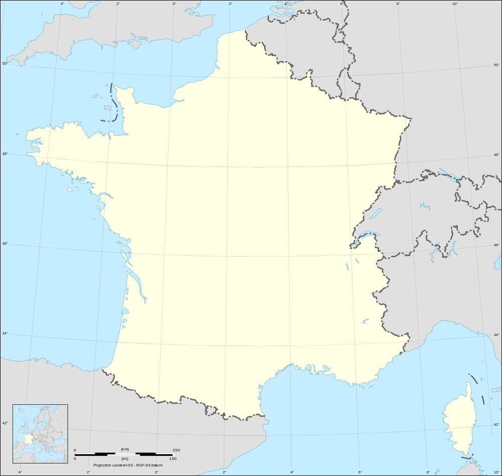 Carte De France Vierge : Fond De Carte De France tout Decoupage Region France