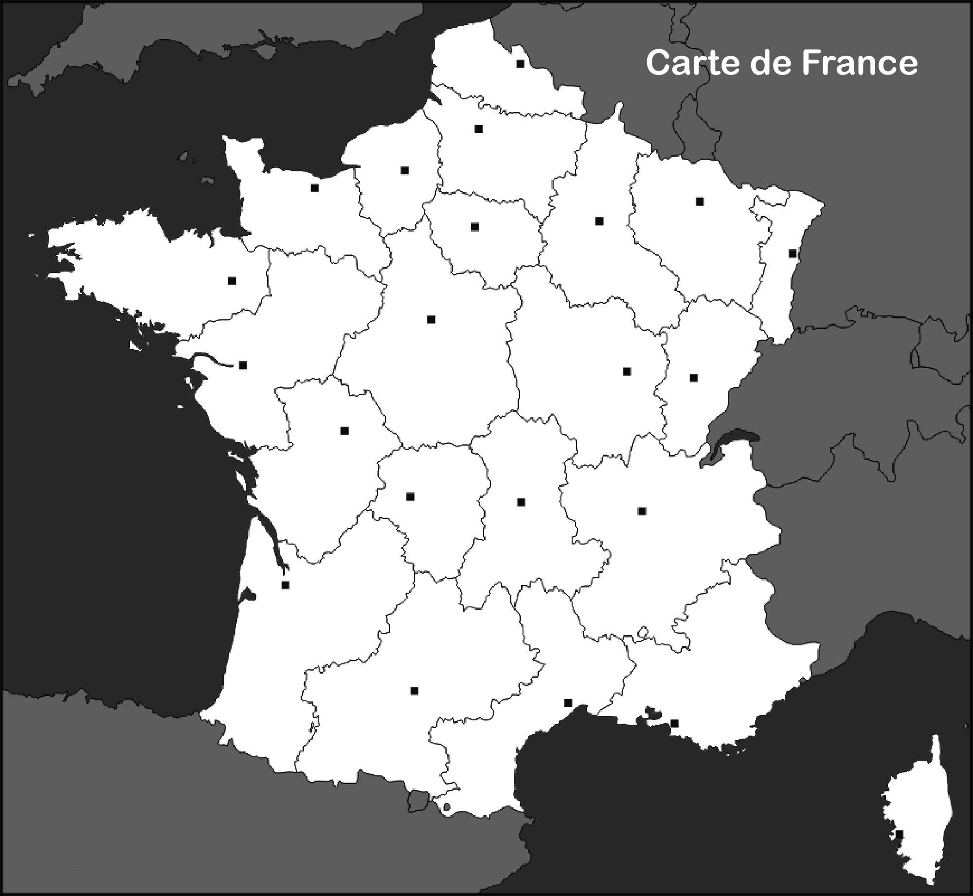 Carte De France Vierge - Voyages - Cartes tout Carte De France Des Régions Vierge