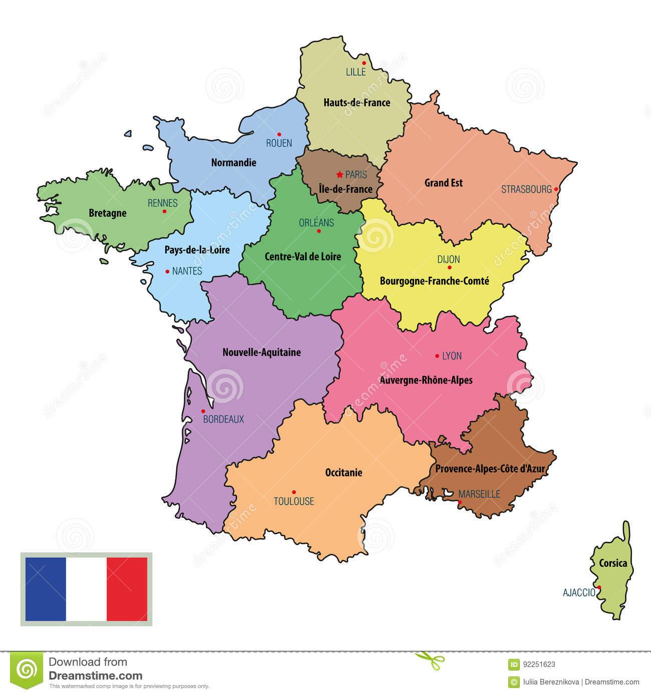 Carte De Frances Avec Des Régions Et Leurs Capitaux destiné Carte De France Avec Les Régions