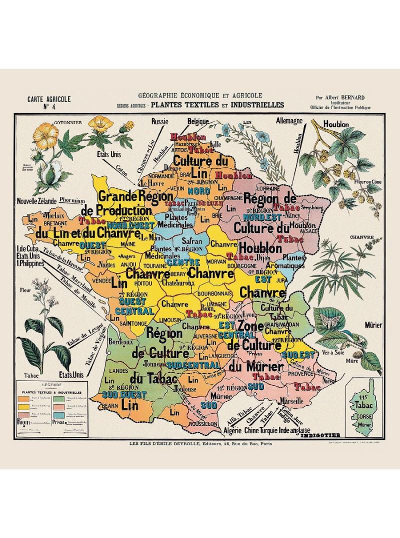 """Carte De Géographie N°4 : """"plantes Textiles Et Industrielles"""" pour Carte De France Pour Les Enfants"""