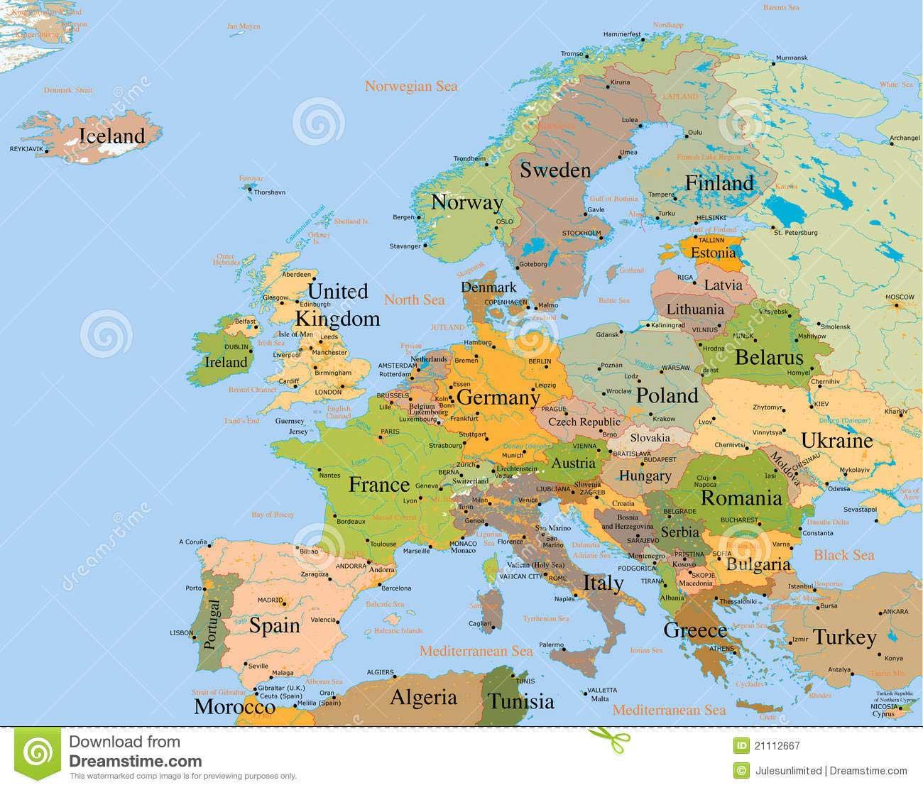 Carte De L Europe Détaillée » Vacances - Arts- Guides Voyages intérieur Carte De L Europe Avec Capitale