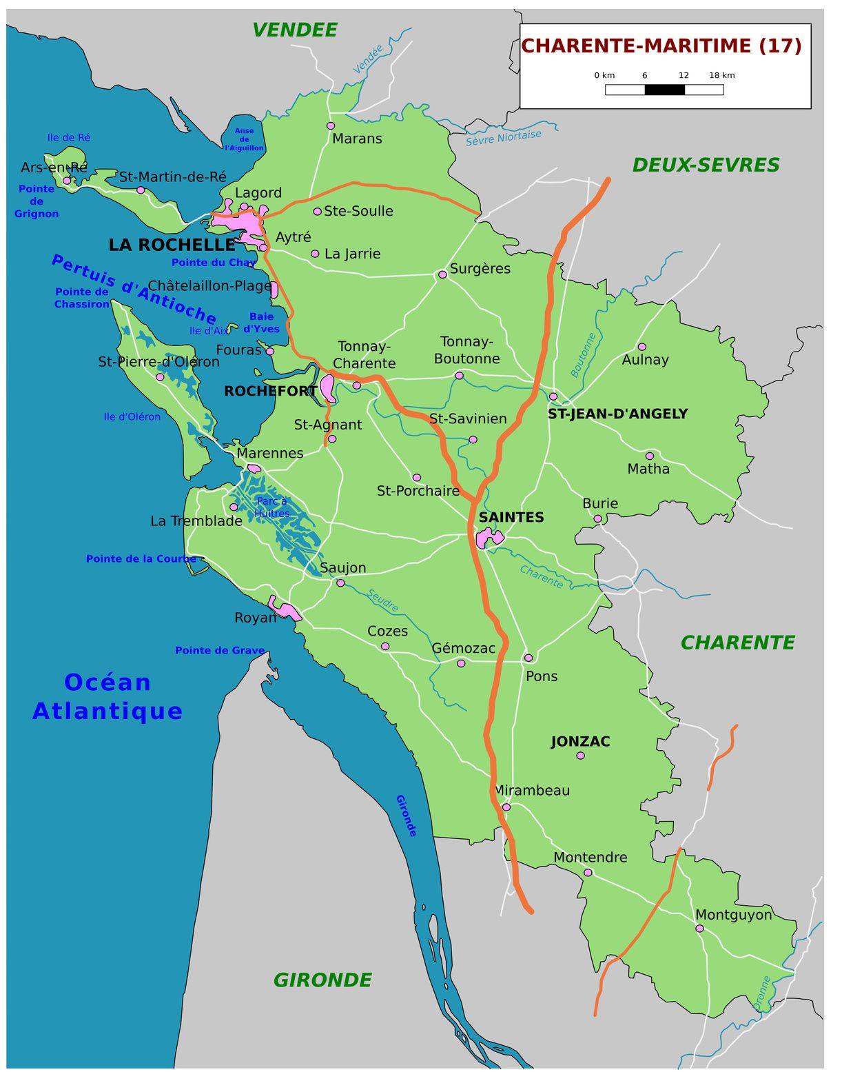Carte De La Charente-Maritime - Charente-Maritime Carte Des intérieur Carte De France Grande Ville