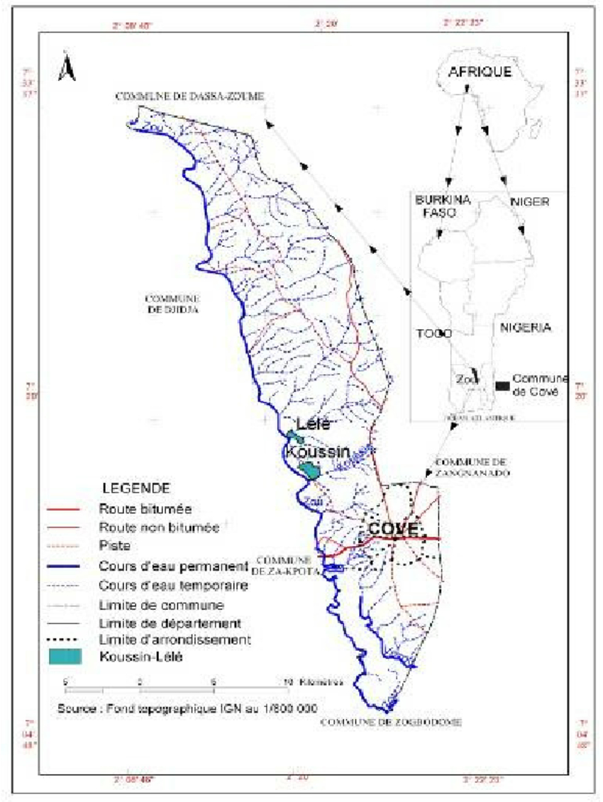 Carte De La Commune De Covè Au Bénin Avec La Localisation concernant Carte Avec Departement