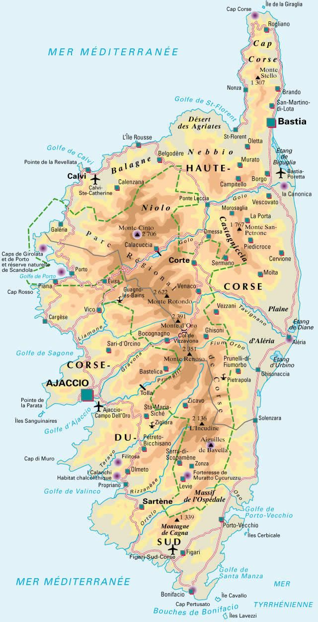 Carte De La Corse Detaillee | Corse Carte, Paysage Corse, Corse pour Carte De L Europe Détaillée
