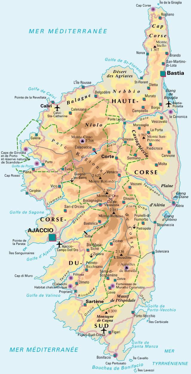 Carte De La Corse Detaillee, Visualisez La Carte De La Corse concernant Carte Des Régions De France À Imprimer Gratuitement
