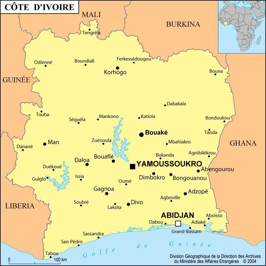 Carte De La Côte D'ivoire - Routière, Administrative, Villes pour Carte De L Europe 2017