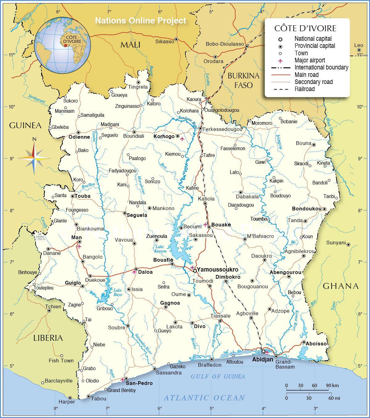 Carte De La Côte D'ivoire - Routière, Administrative, Villes tout Carte De L Europe 2017