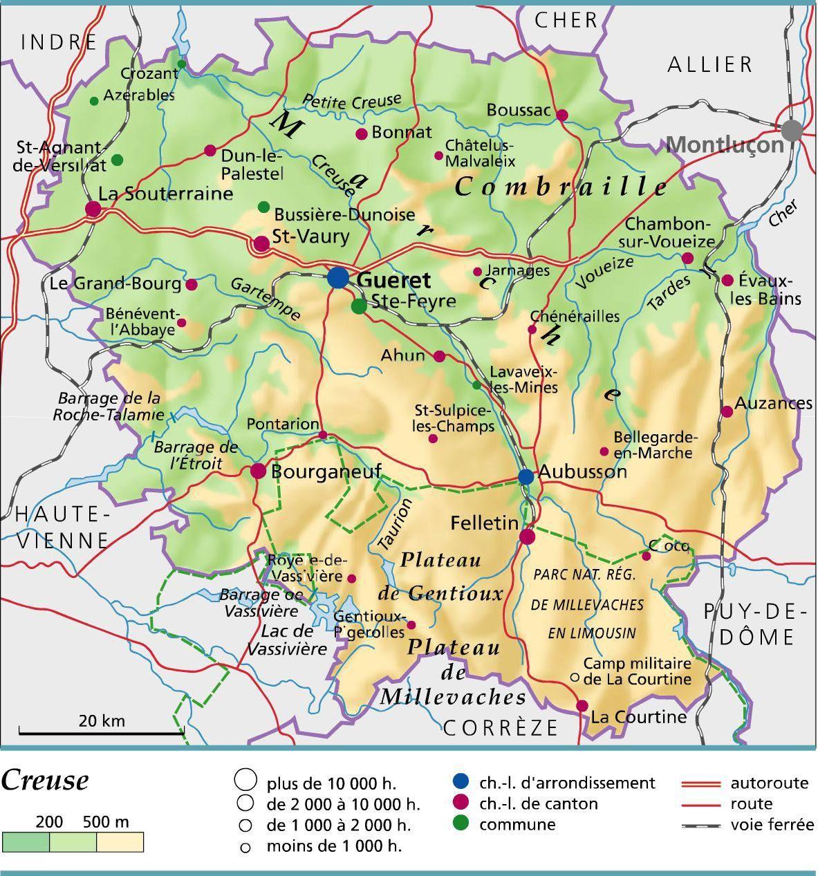 Carte De La Creuse - Creuse Carte Du Département 23 - Villes concernant Carte Départementale De La France