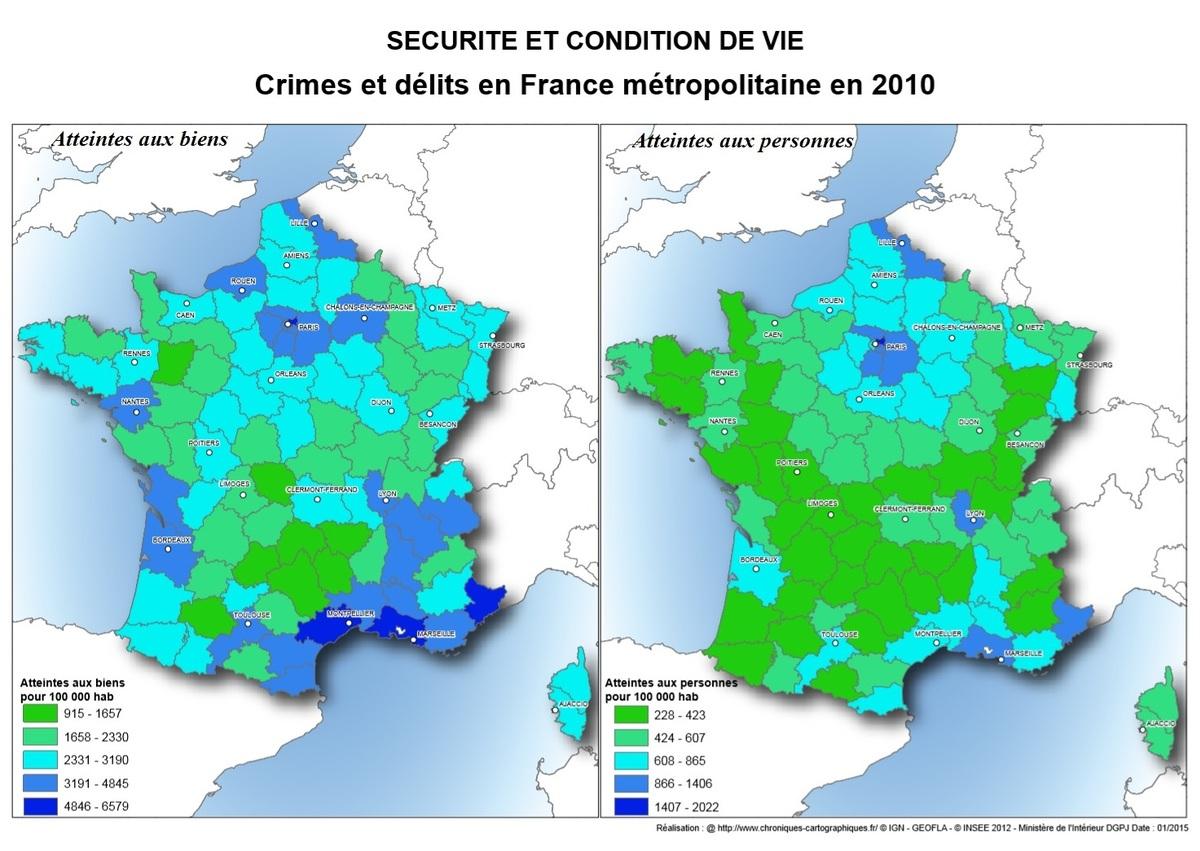 Carte De La Criminalité En France - Chroniques Cartographiques encequiconcerne Combien De Departement En France