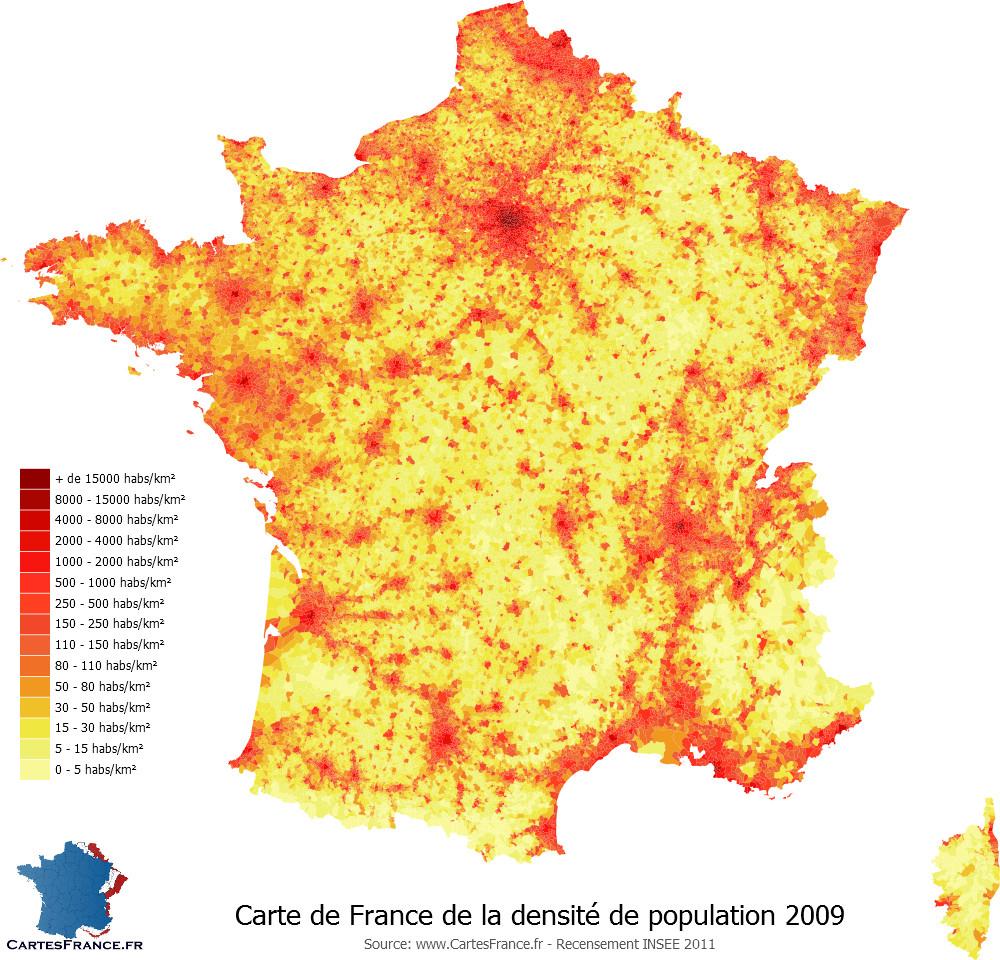 Carte De La Densité De Population 2009 destiné Carte De La France Avec Ville
