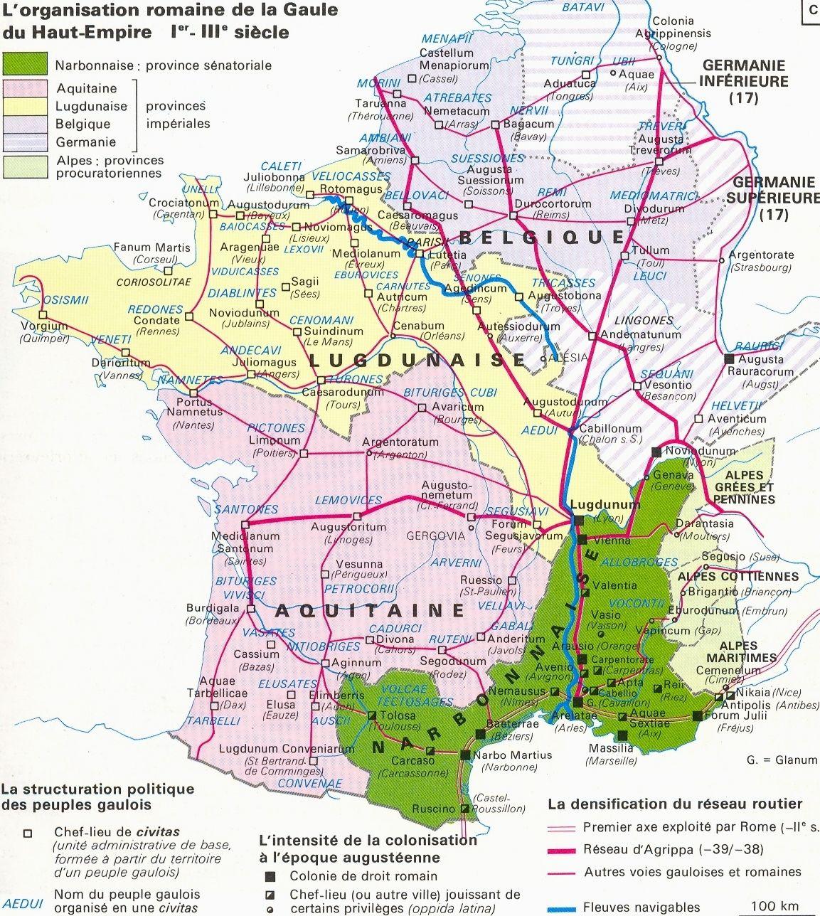 Carte De La Gaule Romaine : Cliquer Sur L'image Pour La Voir dedans Carte De France Grand Format