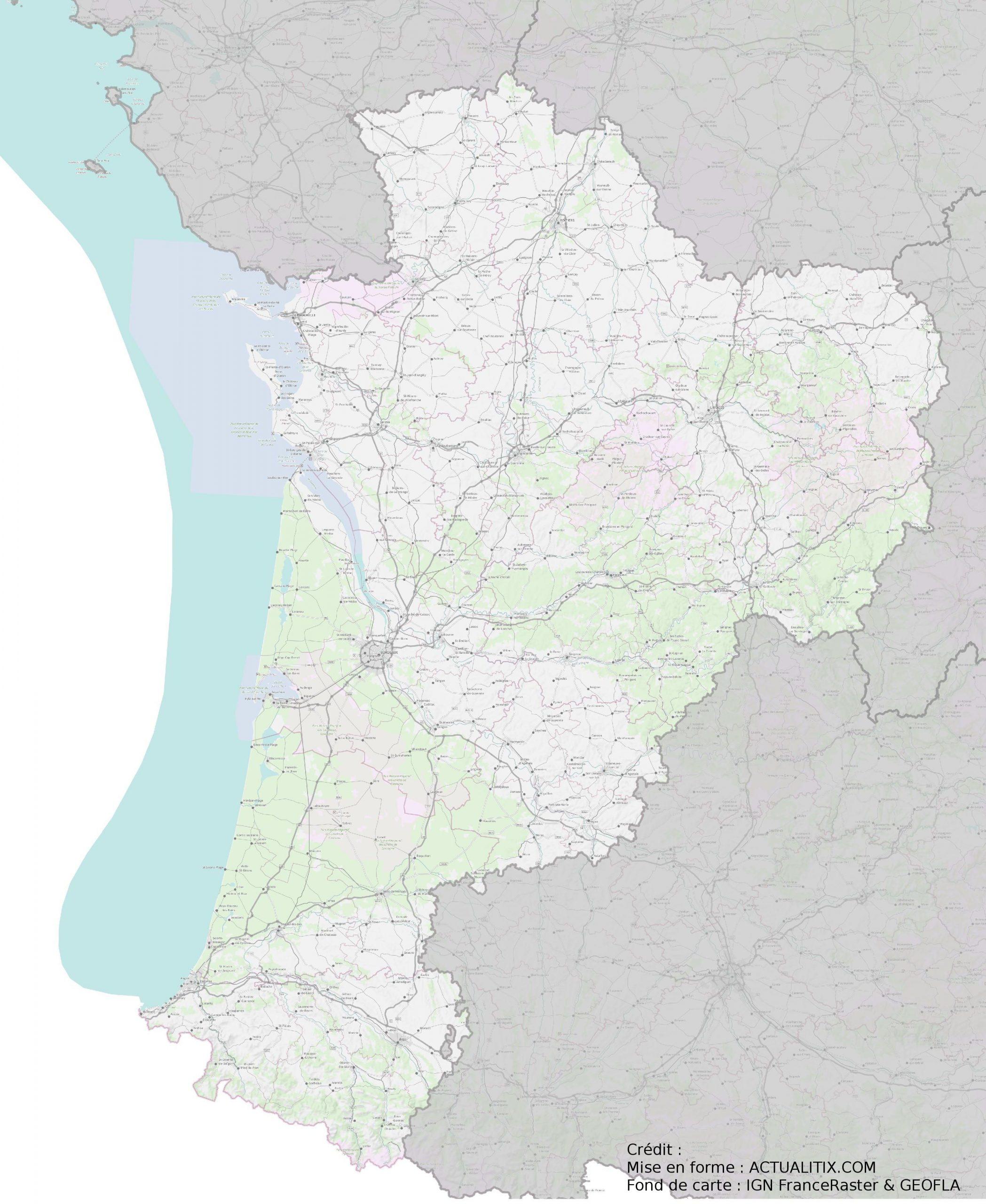 Carte De La Nouvelle-Aquitaine - Nouvelle-Aquitaine Cartes serapportantà Carte Des Régions De France À Imprimer