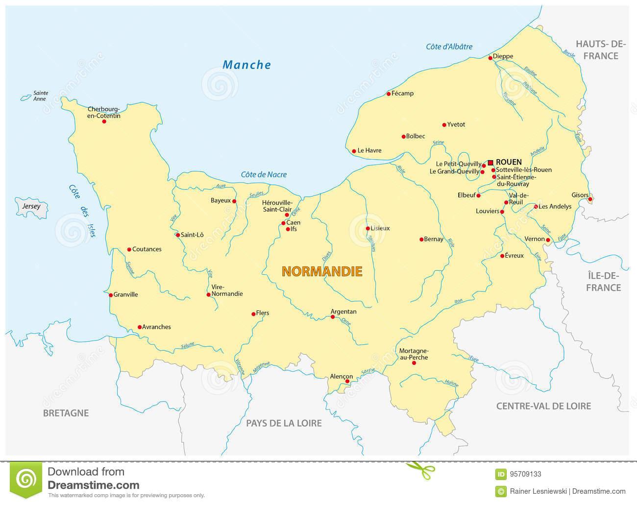 Carte De La Nouvelle Région Française De La Normandie Dans dedans Carte Nouvelle Région France