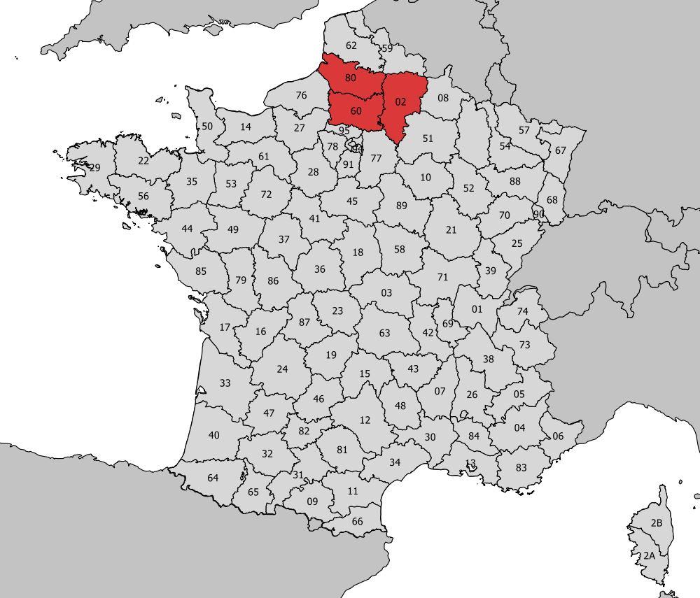 Carte De La Picardie - Découvrir La Régions, Départements tout Numéro Des Départements
